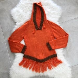 Sweaters - Stunning Orange Alpaca Fur Hoodie Sweater, Small